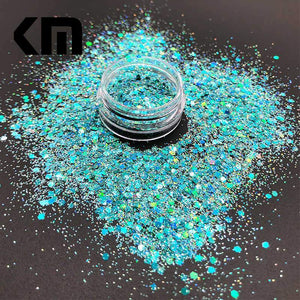 Oiko Store  Laser Prussianblue KM GLITTER Top Popular Best Sales Chunky Mixed Fairy Face Body Craft Rose Sequins Manicure Rose Gold Glitter for Nail Decoration