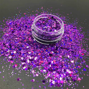 Oiko Store  Laser Purple Mixed KM GLITTER Top Popular Best Sales Chunky Mixed Fairy Face Body Craft Rose Sequins Manicure Rose Gold Glitter for Nail Decoration