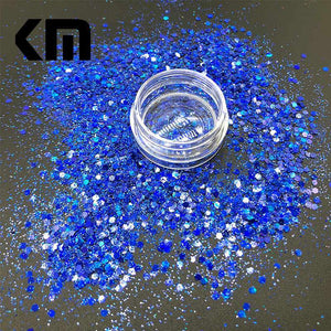 Oiko Store  Laser Royalblue Mix KM GLITTER Top Popular Best Sales Chunky Mixed Fairy Face Body Craft Rose Sequins Manicure Rose Gold Glitter for Nail Decoration