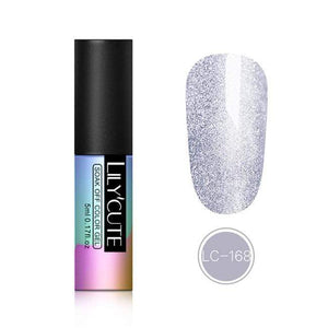 Oiko Store  LC-168 LILYCUTE 5ml Color UV Gel Holographic Glitter Sequins Semi Permanent Soak Off Nail Art Gel Polish Varnish Manicure Design