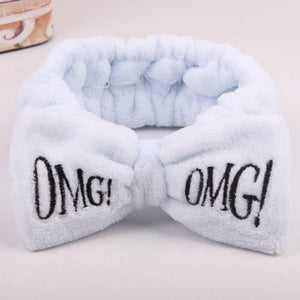 Oiko Store  Light Blue 2019 New Letter OMG Headbands for Women Girls Bow Wash Face Turban Makeup Elastic Hair Bands Coral Fleece Hair Accessories