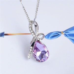 Oiko Store Light Purple Ladies' Necklace - 10 Colors Austrian