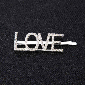 Oiko Store  LOVE 1Pc Shining Letter Hairpins Crystal Shiny Rhinestones Letters Hair Clips Women Styling Tool Hairgrip Diamond  Hair Accessories