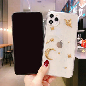 Oiko Store  Lovebay Luxury Bling Glitter Phone Case For iPhone 11 Pro X XR XS Max 6 6S 7 8 Plus Plating Stars Moon Planet Soft Acrylic Cases