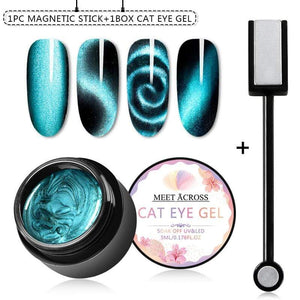 Oiko Store  Magnetic 5D Cat Eye UV Gel Nail Polish Magnet Laser Nail Art Varnish Starry Sky Jade Effect Soak Off UV Gel Nail Art Lacquer