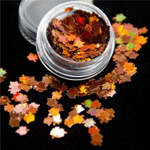 Oiko Store  Maple Leaf KM GLITTER Top Popular Best Sales Chunky Mixed Fairy Face Body Craft Rose Sequins Manicure Rose Gold Glitter for Nail Decoration