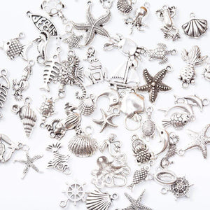 Oiko Store  Marine animal 50pcs Tibetan Silver Mixed Styles  Charms Pendants DIY Jewelry for Necklace Bracelet Making Accessaries js2231 (50pcs)