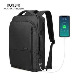 Oiko Store  Mark Ryden Travel Backpack Large Capacity Teenager Male Mochila Anti-thief Bag USB Charging 15.6 inch Laptop Backpack Waterproof (Black 15 Inches)