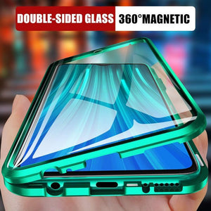 Oiko Store  Metal Magnetic Double side Glass Phone Case For Xiaomi Redmi 8 8A Note 8 7 K20 Pro Phone Cover For Mi 9 9e 9T CC9e 6X Flip Case