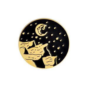 Oiko Store  moon gold Outdoors Mountain Starry Night Enamel Pin Custom Wild Camping Hiking Brooches Bag Clothes Lapel Pin Adventure Badge Jewelry Gift