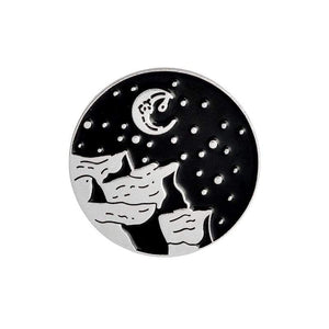 Oiko Store  moon silver Outdoors Mountain Starry Night Enamel Pin Custom Wild Camping Hiking Brooches Bag Clothes Lapel Pin Adventure Badge Jewelry Gift