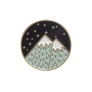 Oiko Store  mountain gold Outdoors Mountain Starry Night Enamel Pin Custom Wild Camping Hiking Brooches Bag Clothes Lapel Pin Adventure Badge Jewelry Gift