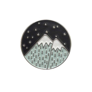 Oiko Store  mountain silver Outdoors Mountain Starry Night Enamel Pin Custom Wild Camping Hiking Brooches Bag Clothes Lapel Pin Adventure Badge Jewelry Gift