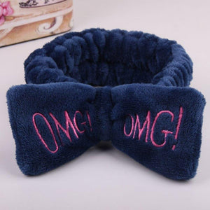 Oiko Store  Navy 2019 New Letter OMG Headbands for Women Girls Bow Wash Face Turban Makeup Elastic Hair Bands Coral Fleece Hair Accessories