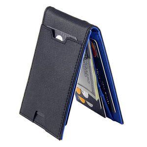 Oiko Store  Navy Blue Fashion Men Wallet Casual Multi-card Position Credit Card Holder Ultra Thin Coin Purse For Men Portable Bifold Male Clutch Bag