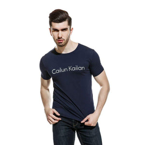Oiko Store  Navy Blue / L Cotton casual CAILUN KAILAN printing men's T-shirt top fashion short-sleeved men's T-shirt men's Tshirt shirt men's T shirt 2019