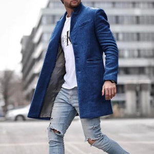Oiko Store  Navy Blue / M Autumn Fashion Thin Wool Coat Men Plus Size Spring 2020 Outwear Black Warm Men's Long Blazer Coats Office Overcoat Coats 4XL