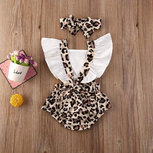 Oiko Store  New 2PCS Infant Baby Girl Leopard Romper Bodysuit Jumpsuit Clothes Outfits Summer