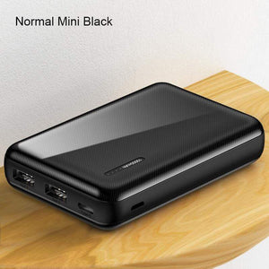 Oiko Store  Normal Mini Black Power Bank for xiaomi mi iPhone,USAMS Mini Pover Bank 10000mAh LED Display Powerbank External Battery Poverbank  Fast charging