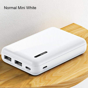 Oiko Store  Normal Mini White Power Bank for xiaomi mi iPhone,USAMS Mini Pover Bank 10000mAh LED Display Powerbank External Battery Poverbank  Fast charging
