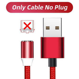 Oiko Store  Only Red Cable / 1m ANMONE Magnetic Cable Micro USB Type C Magnetic Charge Charger Cable for iPhone Huawei Samsung Android Mobile Phone 2m cable