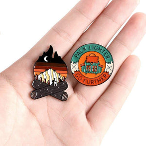 Oiko Store  Outdoors Mountain Starry Night Enamel Pin Custom Wild Camping Hiking Brooches Bag Clothes Lapel Pin Adventure Badge Jewelry Gift