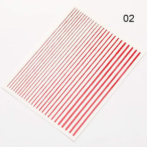 Oiko Store  pattern 24 Gold 3D Nail Sticker Curve Stripe Lines Nails Stickers Gradient Adhesive Striping Tape Nail Foil Nail Art Stickers Decals Silver