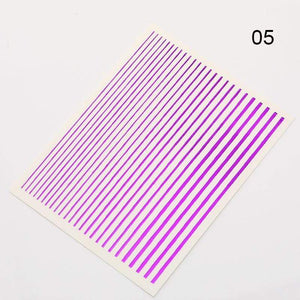 Oiko Store  pattern 27 Gold 3D Nail Sticker Curve Stripe Lines Nails Stickers Gradient Adhesive Striping Tape Nail Foil Nail Art Stickers Decals Silver
