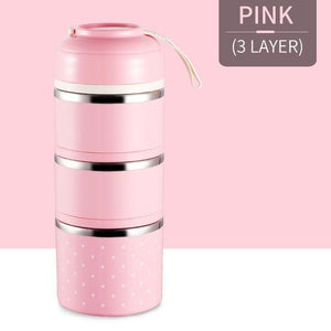 Oiko Store  Pink 3 Layer FOODYBOX - LIMITED EDITION LUNCH BOX
