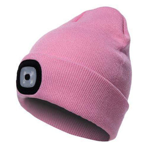 Oiko Store  Pink Unisex Outdoor Cycling Hiking LED Light Knitted Hat Winter Elastic Beanie Cap