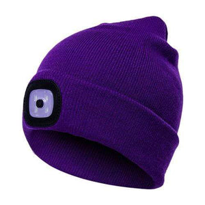 Oiko Store  Purple Unisex Outdoor Cycling Hiking LED Light Knitted Hat Winter Elastic Beanie Cap