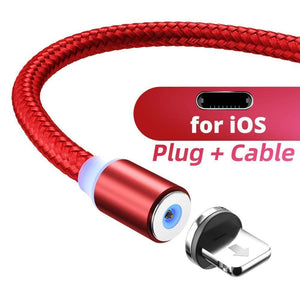 Oiko Store  Red For IOS Cable / 1m ANMONE Magnetic Cable Micro USB Type C Magnetic Charge Charger Cable for iPhone Huawei Samsung Android Mobile Phone 2m cable