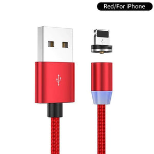 Oiko Store  Red for iPhone / 1m YKZ Magnetic USB Cable for Huawei Samsung Type C Type-C Charging USB C Magnet Cable Micro USB Mobile Phone Cord Wire for iPhone