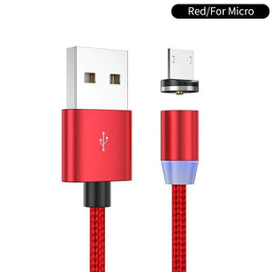 Oiko Store  Red for micro / 1m YKZ Magnetic USB Cable for Huawei Samsung Type C Type-C Charging USB C Magnet Cable Micro USB Mobile Phone Cord Wire for iPhone
