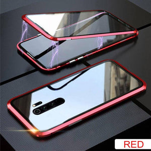 Oiko Store  Red / For Redmi 8 Metal Magnetic Double side Glass Phone Case For Xiaomi Redmi 8 8A Note 8 7 K20 Pro Phone Cover For Mi 9 9e 9T CC9e 6X Flip Case