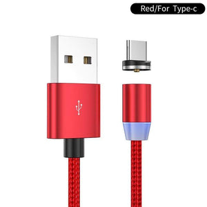 Oiko Store  Red for type C / 1m YKZ Magnetic USB Cable for Huawei Samsung Type C Type-C Charging USB C Magnet Cable Micro USB Mobile Phone Cord Wire for iPhone