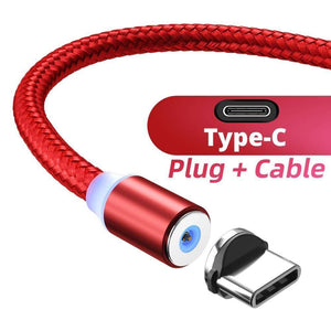 Oiko Store  Red Type C cable / 1m ANMONE Magnetic Cable Micro USB Type C Magnetic Charge Charger Cable for iPhone Huawei Samsung Android Mobile Phone 2m cable