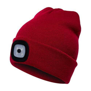 Oiko Store  Red Unisex Outdoor Cycling Hiking LED Light Knitted Hat Winter Elastic Beanie Cap