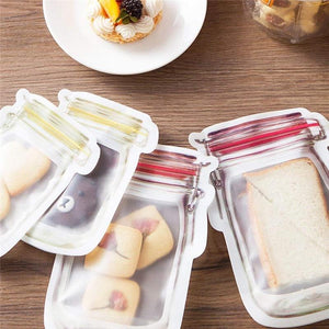 Oiko Store  Reusable Mason Jar Bottles Bags Nuts Candy Cookies Bag Seal Fresh Food Storage Bag Snacks Zipper Sealed Kitchen Organizer