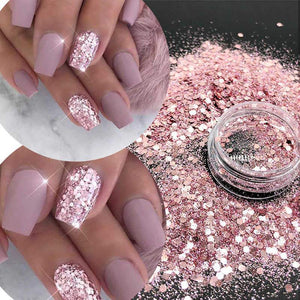 Oiko Store  Rose gold Mixed KM GLITTER Top Popular Best Sales Chunky Mixed Fairy Face Body Craft Rose Sequins Manicure Rose Gold Glitter for Nail Decoration