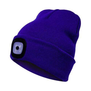 Oiko Store  Sapphire Blue Unisex Outdoor Cycling Hiking LED Light Knitted Hat Winter Elastic Beanie Cap