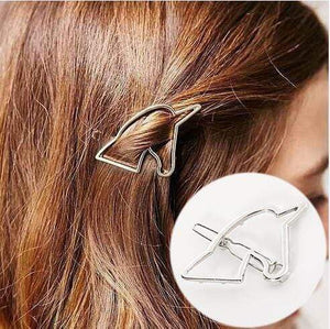 Oiko Store  Silver-200844061 Hair Clip For Women Scissors Diamond Round Moon Leaf Unicorn Heart Simple Golden Silver Girl Fashion Gift Charm