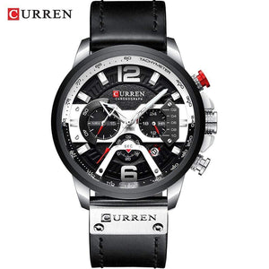 Oiko Store  silver black watch CURREN Casual Sport Watches for Men Blue Top Brand Luxury Military Leather Wrist Watch Man Clock Fashion Chronograph Wristwatch