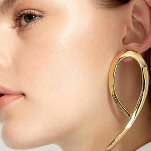 Oiko Store  Simple fashion gold color Silver plated geometric big round earrings for women fashion big hollow drop earrings jewelry