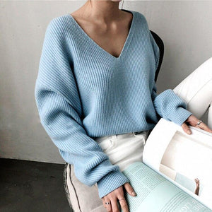 Oiko Store  Sky blue / One Size Colorfaith New 2019 Autumn Winter Women's Sweaters V-Neck Minimalist Tops Fashionable Irregular Hem Knitting Casual Solid SW8112