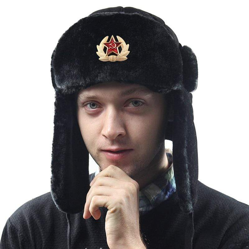 Mens and Womens Russian Military Faux Fur Winter Hat