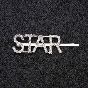 Oiko Store  STAR 1Pc Shining Letter Hairpins Crystal Shiny Rhinestones Letters Hair Clips Women Styling Tool Hairgrip Diamond  Hair Accessories