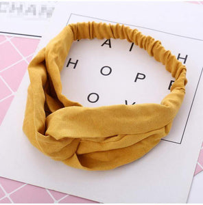 Oiko Store  style 1 Adult yellow Women Spring Autumn Suede Headband Vintage Cross Knot Elastic Hair Bands Soft Solid Girls Hairband Hair Accessories