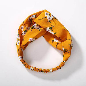 Oiko Store  style 4 yellow flowe Women Spring Autumn Suede Headband Vintage Cross Knot Elastic Hair Bands Soft Solid Girls Hairband Hair Accessories