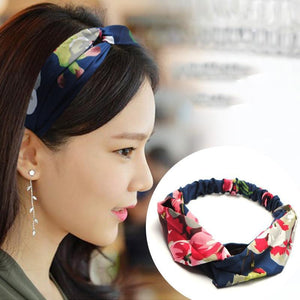 Oiko Store  style 6 flower blue Women Spring Autumn Suede Headband Vintage Cross Knot Elastic Hair Bands Soft Solid Girls Hairband Hair Accessories